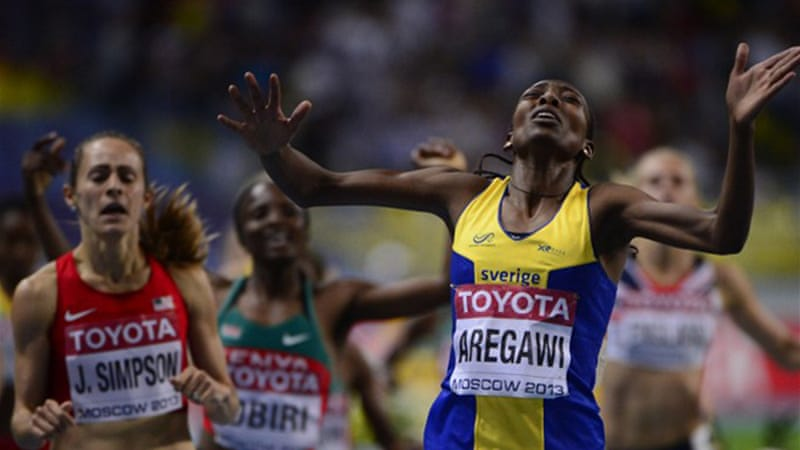 Sweden's Abeba Aregawi stormed home in the final stretch to take the 1500m gold [AFP]