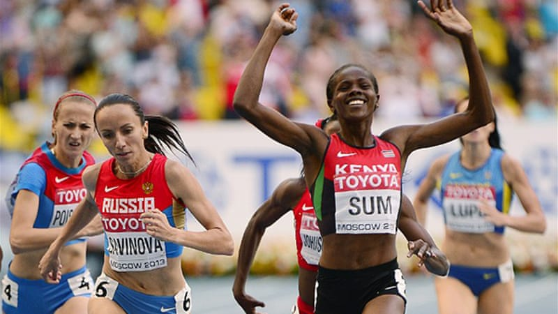Sum powered past the Russian Olympic champion on the home straight to claim a PB [AFP]