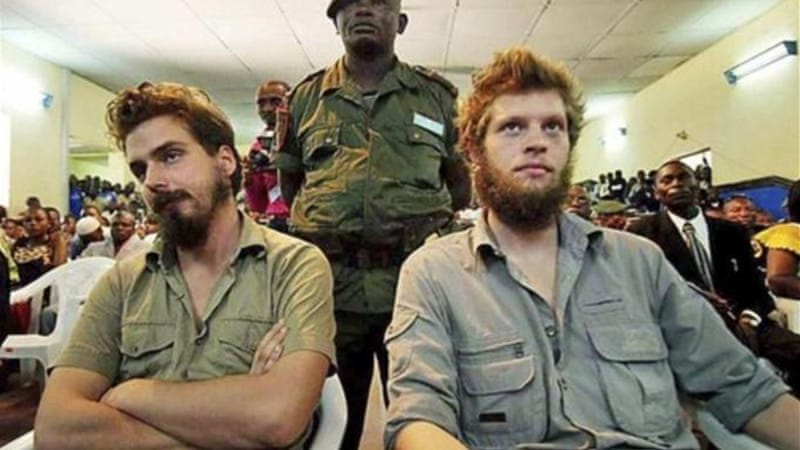 Norwegian citizens Tjostolv Moland, left, and Joshua French, right, were sentence at a court in Congo in 2009 [AP]