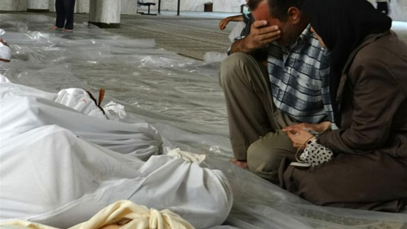 The US says the Syrian regime killed 1,400 people in a poison-gas attack in eastern Damascus on August 21 [AFP]