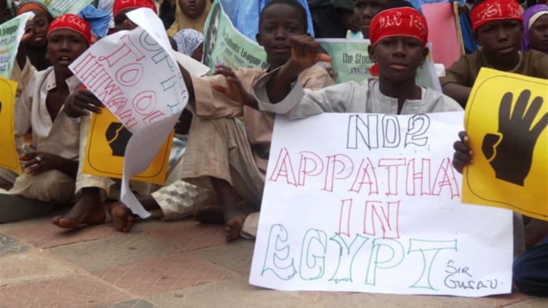 Leaders of the protest movement told a crowd of 5,000 in Kano state that the killings in Egypt had to stop [AFP]