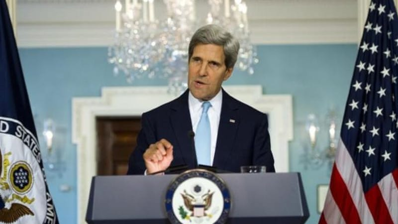 US Secretary of State John Kerry brought forth the idea of a possible US strike in Syria [AFP]