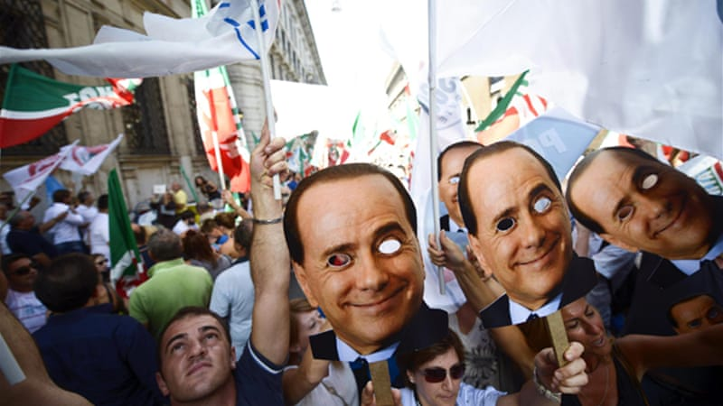 Sunday's rally in support of Berlusconi was organised by his People of Freedom party [EPA]