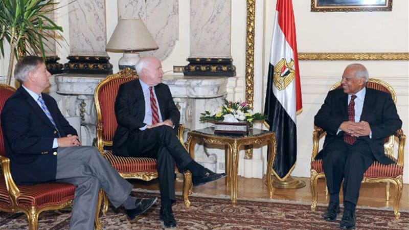 Attempts at mediation ended badly after two visiting US senators called Morsi's removal a coup [Reuters]
