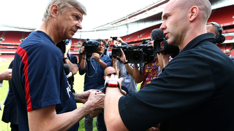 Arsene Wenger grills officials about Hawk-Eye's camera based system at the Emirates [GALLO/GETTY]
