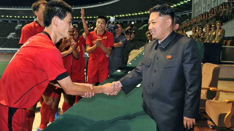 The North Korean leader Kim Jong-Un was believed to have attended the football game [AFP]