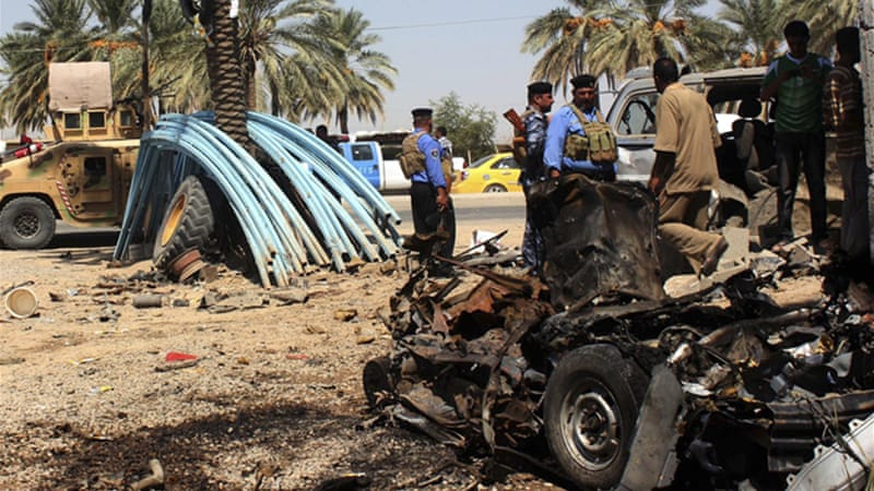 An attack that killed 20 people hit Baquba a day before Wednesday's blast in Baghdad [Reuters]