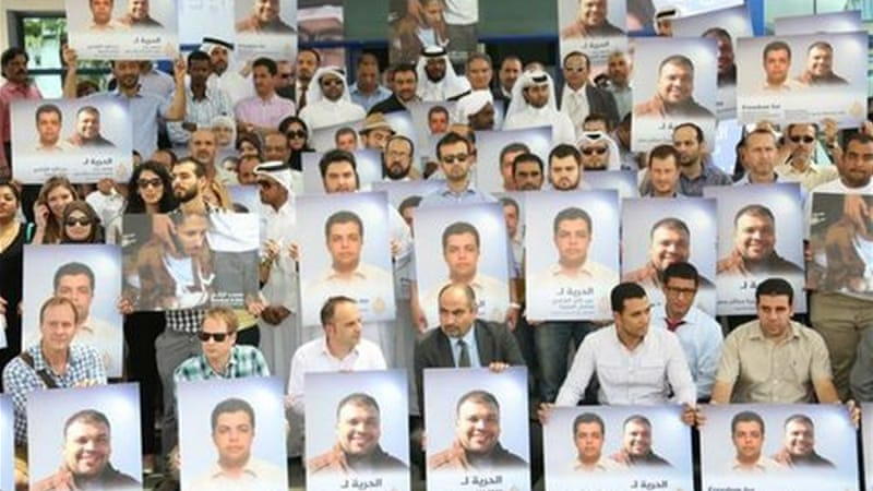 Al Jazeera staff gather for detained colleagues in Egypt [Al Jazeera]