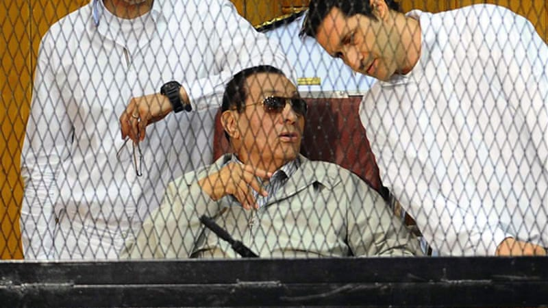 Mubarak appeared in court alongside his sons, Alaa and Gamal, who are also on trial [AFP]