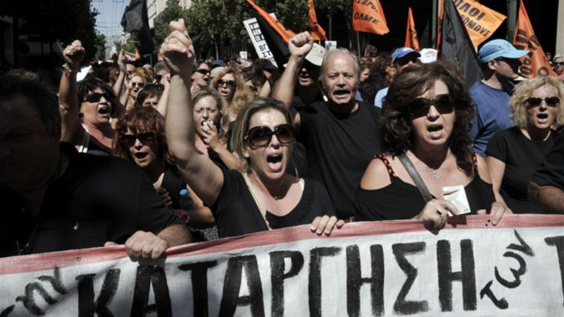 Greek unions held protests earlier this month, and have called for general strikes later this week [Reuters]