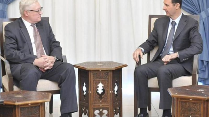 Syrian President al-Assad meets Russian deputy Foreign Minister Ryabkov in Damascus in September [AFP]