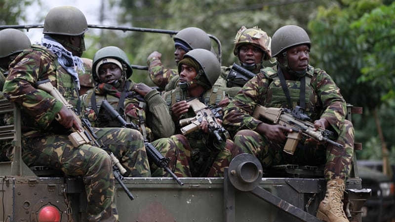 Kenyan security forces were locked in a standoff on Sunday with gunmen who killed at least 59 people [Reuters]