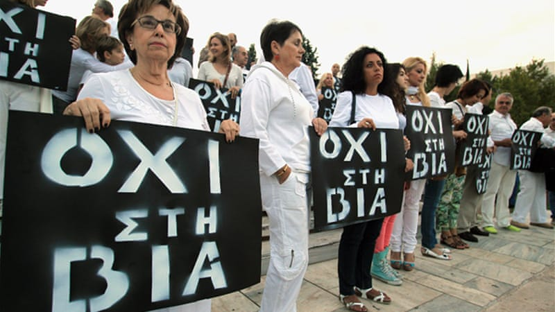 "Activists staged a ""no to violence"" protest earlier this week after Fyssas was killed [EPA]"