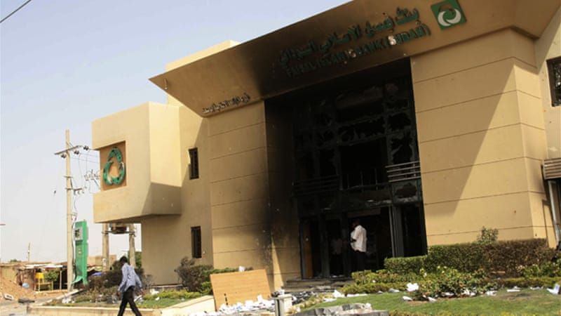 Protesters vandalised banks and gas stations throughout Khartoum [Reuters]