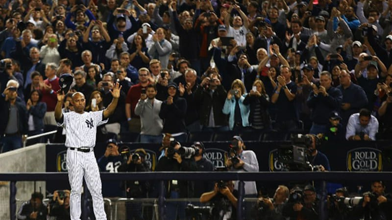 Baseball's acclaimed relief pitcher made an emotional exit at Yankee Stadium [AFP]