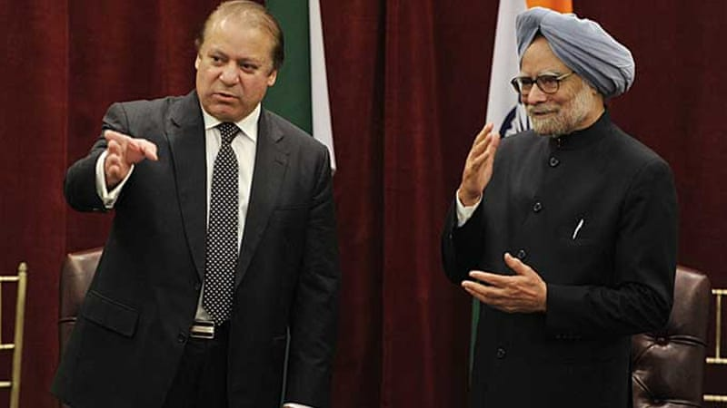 Sharif, left, and Singh agreed during Sunday's talks to find 'effective means to restore' the Kashmir truce [AFP]