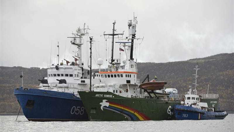 The Russian Coast Guard seized Greenpeace's ship, the Arctic Sunrise, and then towed it to Murmansk [Reuters]