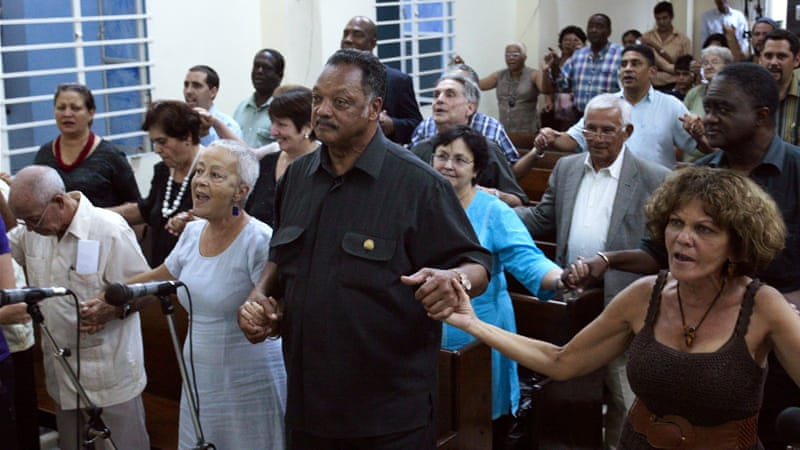 Jackson is Cuba on a visit to try to improve ties between the communist-run country  [Reuters]