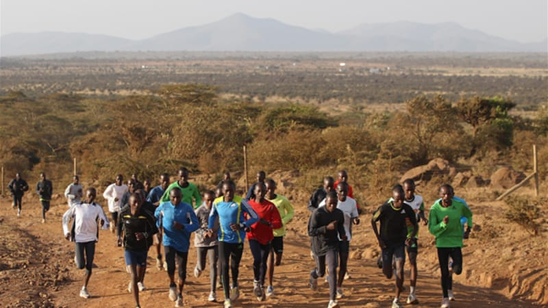 Makau, pictured third left in 2012, has been training in the Ngong Hills ahead of Berlin [GALLO/GETTY]