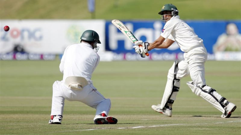 Younus was unbeaten on 76 from 174 balls as Pakistan closed the day on 168-4 [AFP]