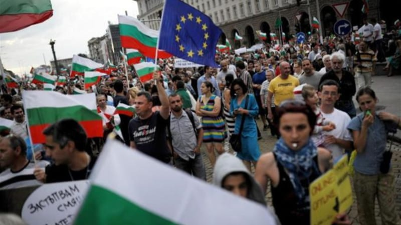 The protests in Bulgaria have much in common with protests in other countries [AFP]