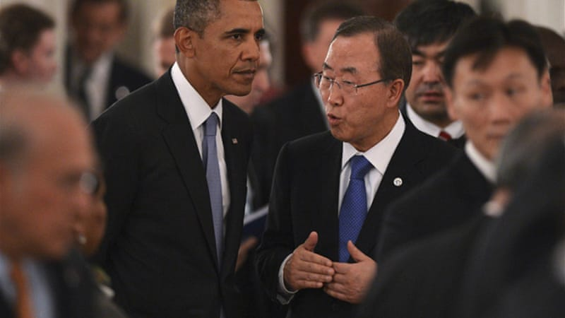 UN chief Ban Ki-moon, right, said on Thursday that there was 'no military solution' to the Syrian crisis [Reuters]