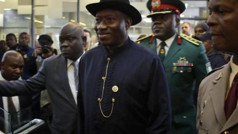 The defence position had been vacant since June 2012, when President Jonathan (C) sacked Mohammed Bello [Reuters]