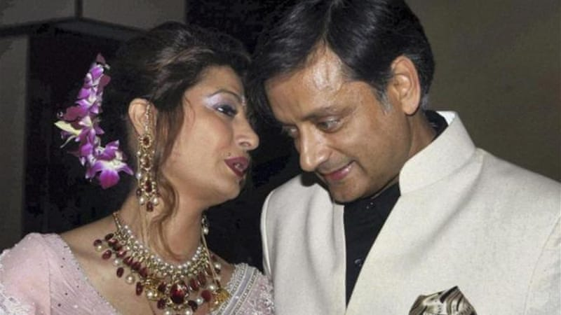 Just days before her death, Sunanda, left, was embroiled in an ugly spat with a Pakistani journalist [AP]