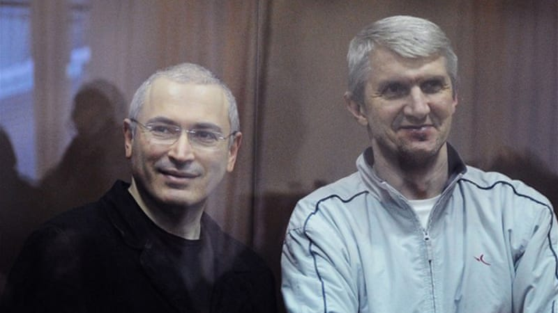Lebedev, right, was Khodorkovsky's co-defendant in two highly controversial trials [AFP]