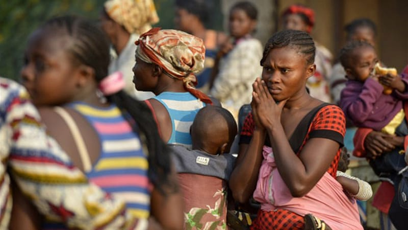 Almost a million civilians displaced in CAR, where sectarian violence has killed at least a 1,000 since December [AFP]