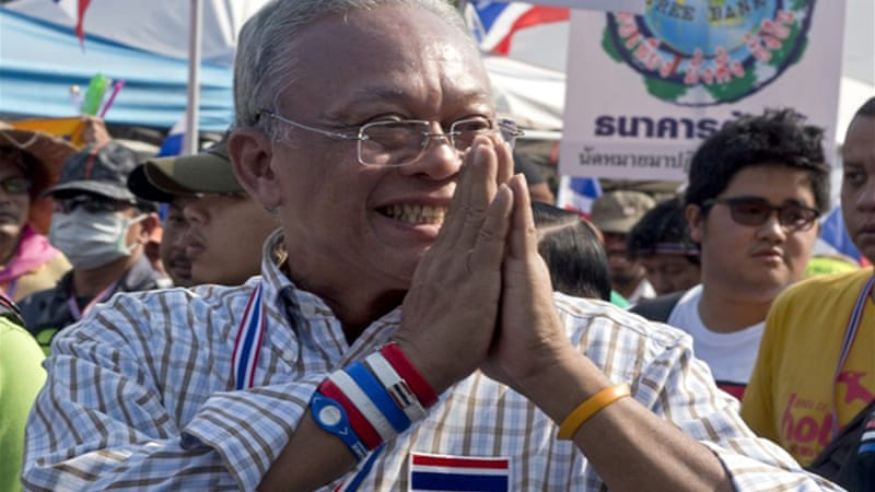 Protest leader Suthep Thaugsuban vowed to march until Yingluck steps down and polls are scrapped [AFP]