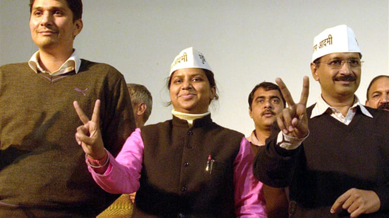 AAP leader and youngest minister in Delhi government, Rakhi Birla, middle, was attacked earlier this week [EPA]