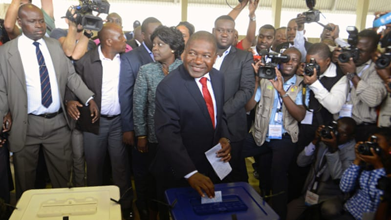 The race pits the ruling party's Filipe Nyusi, a former defence minister, and two opposition candidates [Reuters]