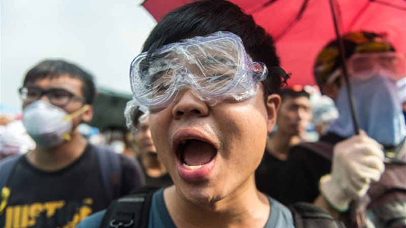 Protesters are opposed to a reform that requires candidates for 2017 elections to be approved by Beijing [AFP]