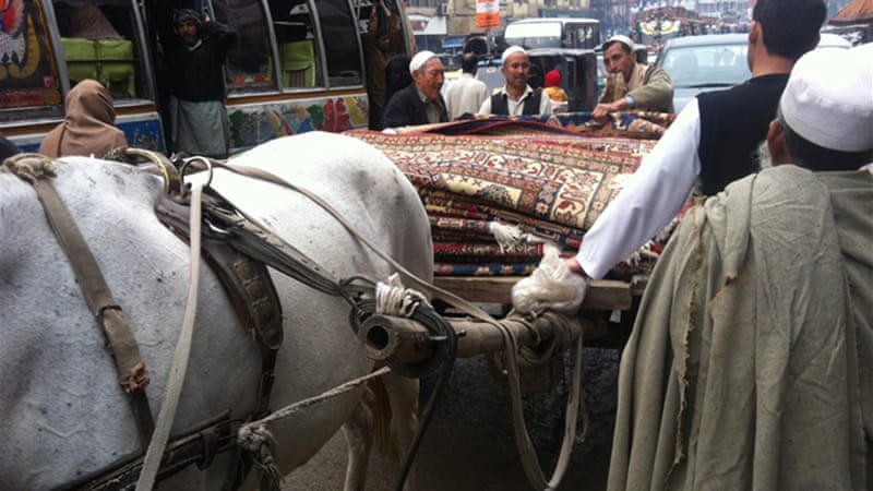 A cart full of Ghazni rugs arrives from the tribal areas [Riyaz Bhat/Al Jazeera]