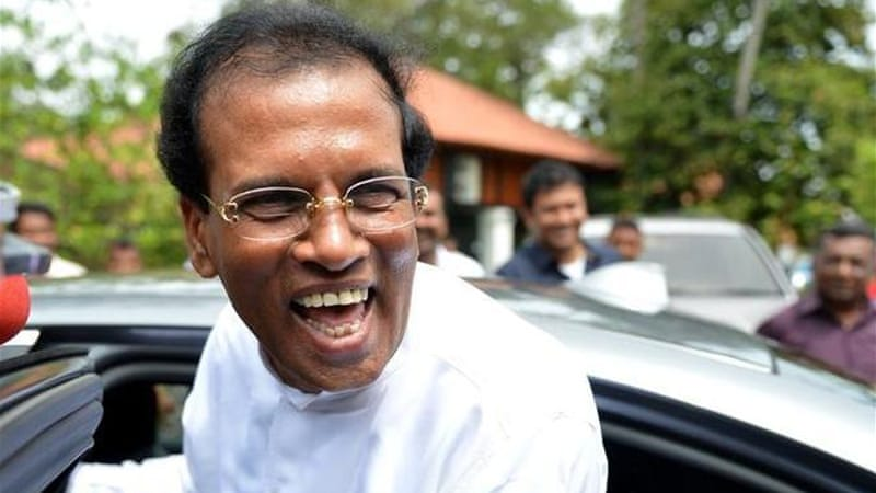 Maithripala Sirisena defeated his one-time ally Rajapaksa in Thursday's poll [AFP]
