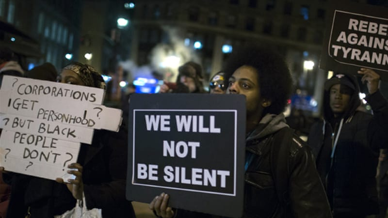 Protests against the grand jury decision not to indict a white police officer have spread across the US [EPA]