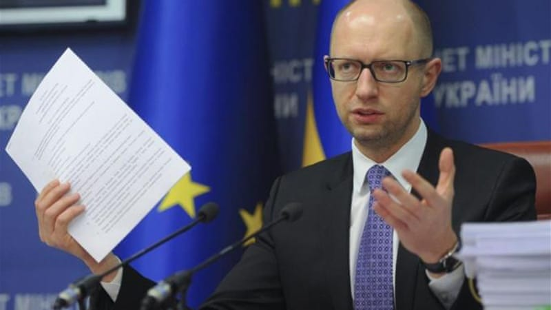 Amid fears of conflict, Yatsenyuk has made recommendations for a new coalition government [AP]