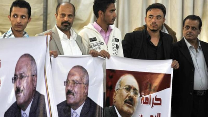 Thousands of Saleh supporters filled the streets of Sanaa to protest the move to punish the former president EPA]