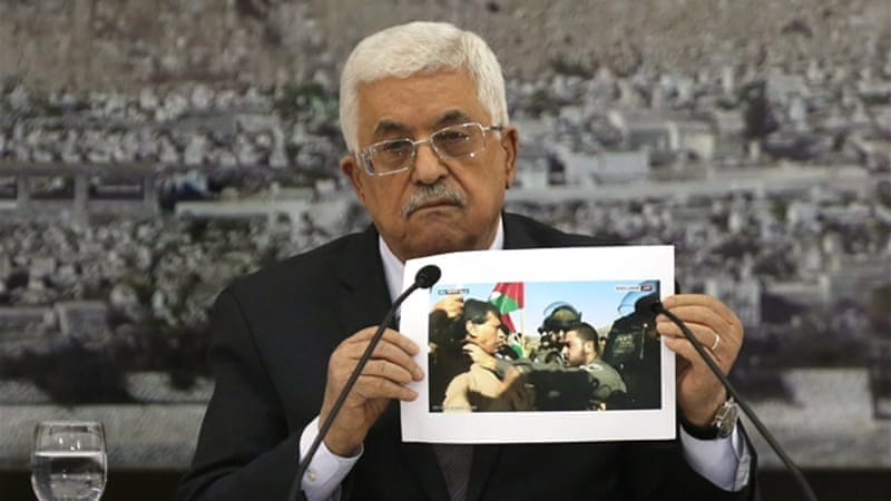 "Mahmoud Abbas said Ziad Abu Ein was a victim of a ""clear crime"" and a ""barbaric act""  [AFP]"