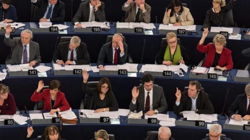 A large majority of the European Parliament voted in favour of advancing a two-state solution [EPA]