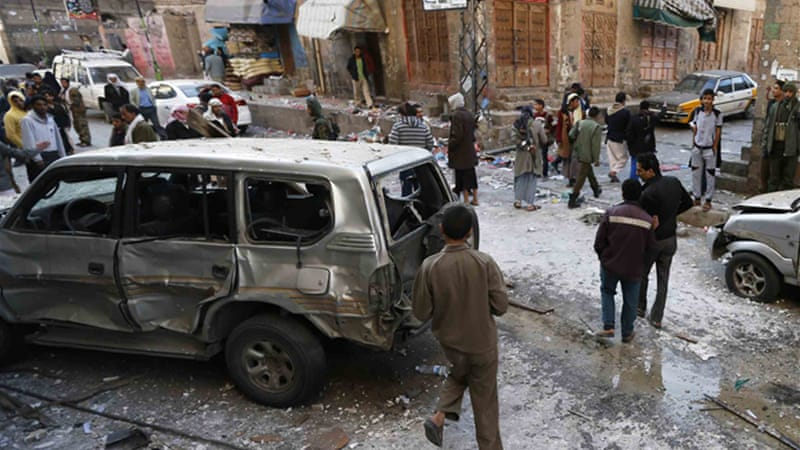 At least one person was killed in Tuesday's explosions in Sanaa's old quarter where many Houthis live [Reuters]
