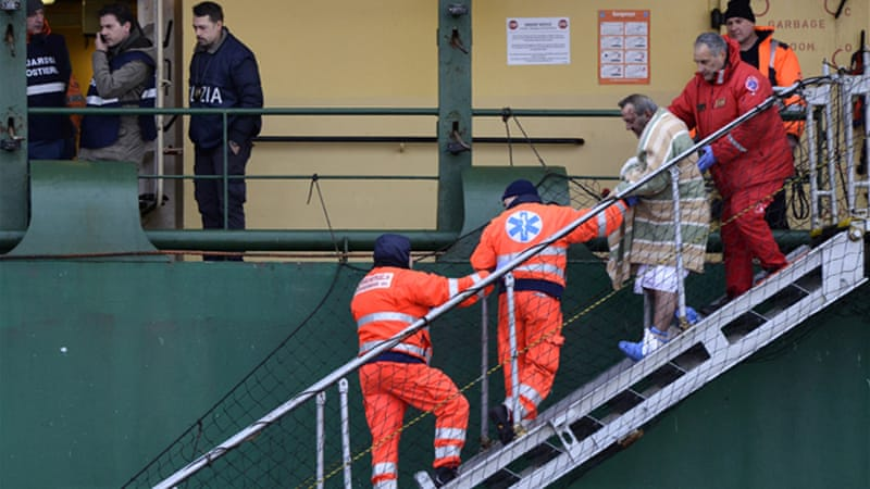 The sailors were part of an operation tasked with salvaging an Italian ferry that caught on fire on Sunday [AP]