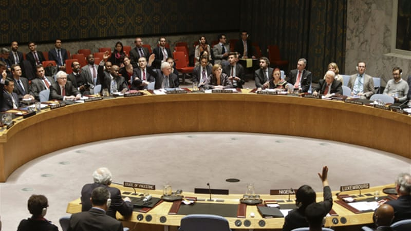 The UN Security Council rejected the resolution, with the US and Australia both voting against the motion [AP]