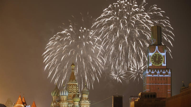 Moscow's Red Square was lit up by fireworks as the clock hit midnight [Reuters]