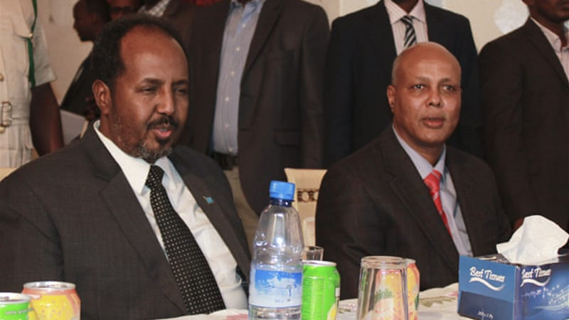 Ahmed has for months been at loggerheads with Somalia's President Hassan Sheikh Mohamud (left) [EPA]