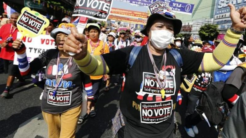 The Democrat Party boycotted the February 2 vote, saying it would not end Thailand's political crisis [EPA]
