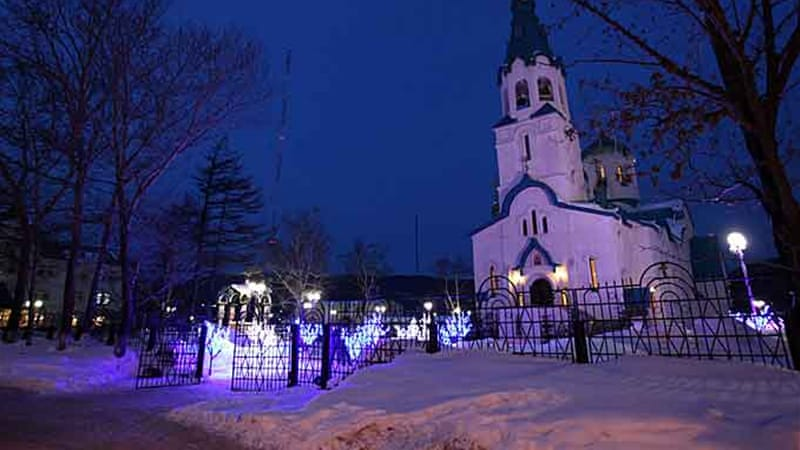 Most of the wounded in Sunday's cathedral shooting on Sakhalin island were shot in the legs [AFP]