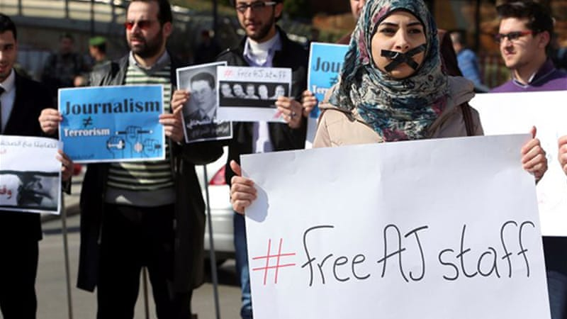 Protesters in several countries have already shown their support for journalists jailed in Egypt [Reuters]