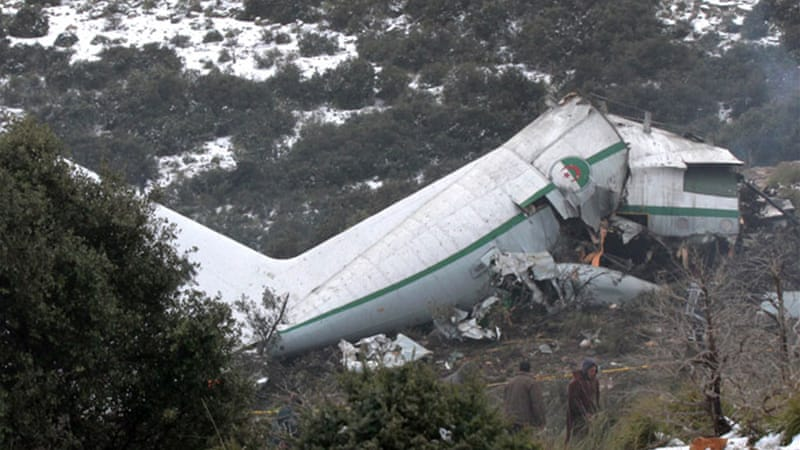 Debris of the plane was scattered in a field in the Oum El Bouaghi province, 500km from Algiers [EPA]